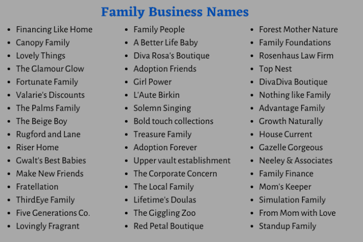Family Business Names
