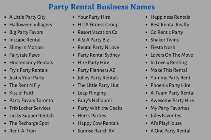Party Rental Business Names