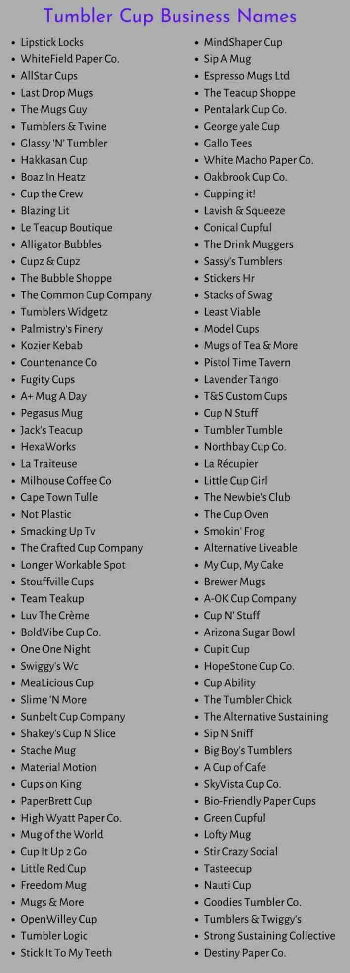 Tumbler Cup Business Names