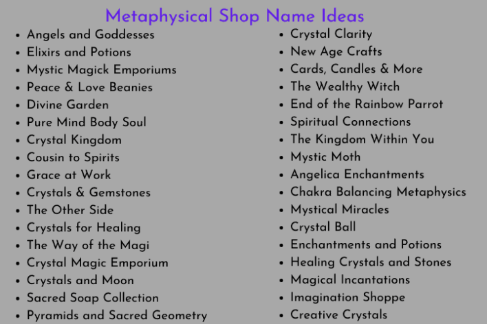 Metaphysical Shop Name Ideas