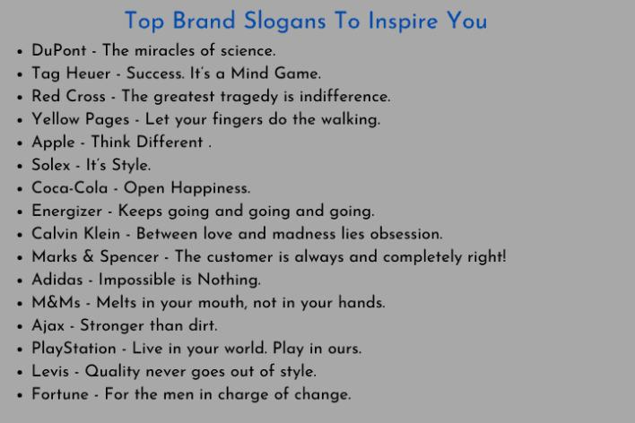 Top Brand Slogans