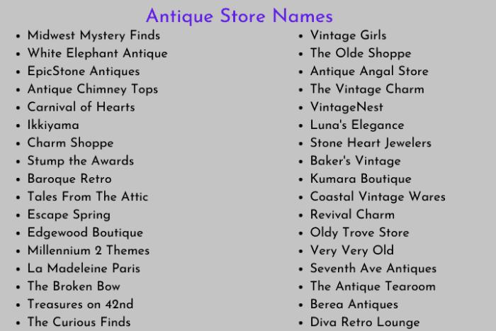 Antique Store Names