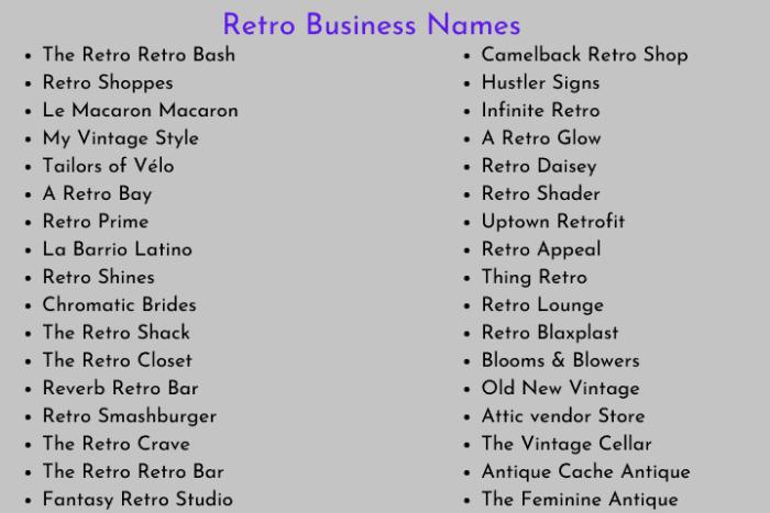 Retro Business Names