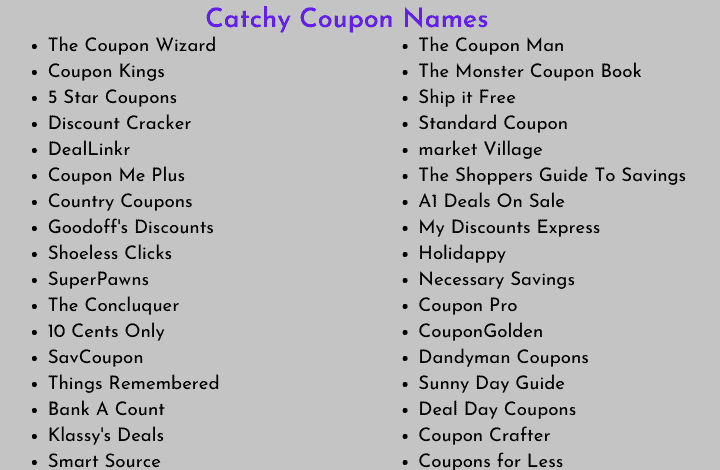Catchy Coupon Names