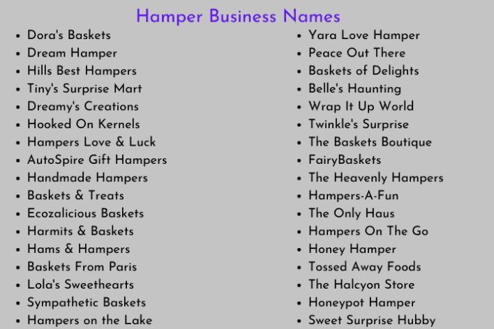 Hamper Business Names