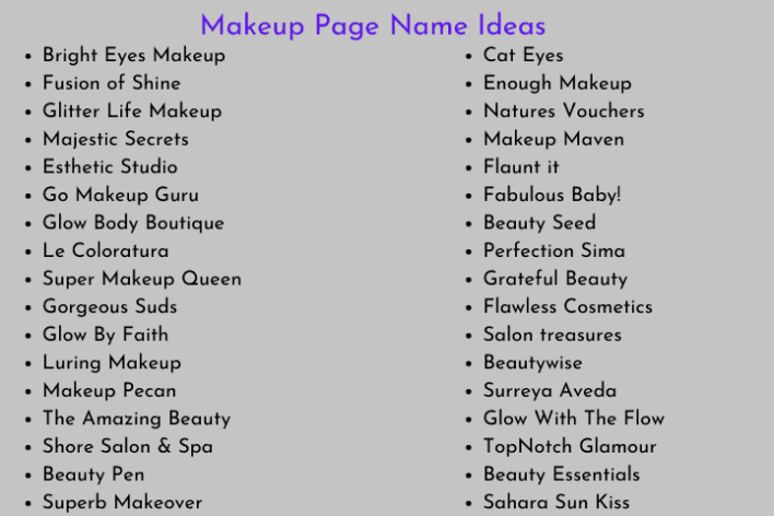 Makeup Page Name Ideas