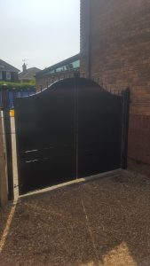 Back view of our Black Flat Face Steel gate