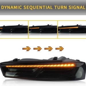 Smoked Sequential Tail Lights – Amber Signal | 2016 – 2018 Chevy Camaro