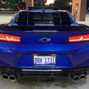 Gloss Black Rear Window Louvers   2016-2021 Chevy Camaro