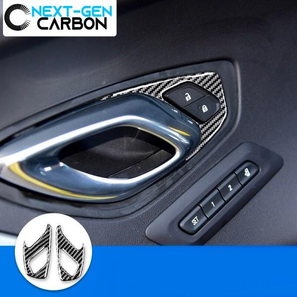 Carbon Fiber Interior Door Lock Trim Covers | 2016-2020 Chevy Camaro