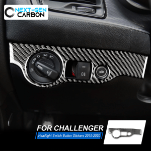 Carbon Fiber Headlight Switch Trim Cover | 2015-2021 Dodge Challenger