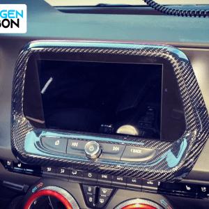 Real Carbon Fiber 8″ Radio Screen Trim Cover | 2016-2021 Chevy Camaro