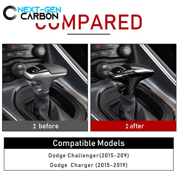 Carbon Fiber Shifter Knob Handle Cover (Black/Red) | 2015-2021 Dodge Charger/Challenger/Durango
