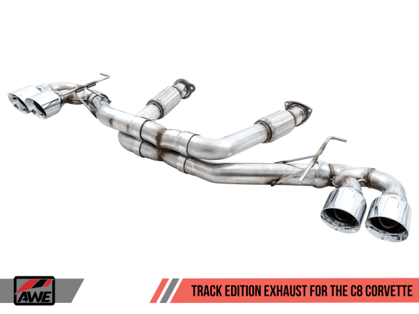 AWE Track Edition Exhaust System | 2020+ Chevy Corvette C8 – (Chrome Silver/Diamond Black Tips)