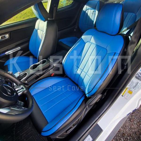 Two-Tone Artificial Leather Seat Covers   2015-2021 Ford Mustang