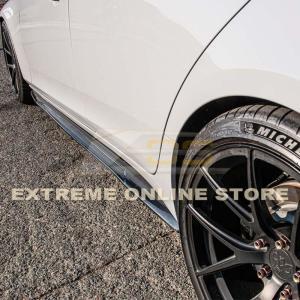 Side Skirts Rocker Panels Carbon Fiber/Primer Black | 2014-2019 Cadillac CTS & V-Sport