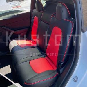 Two-tone Custom Leather Seat Covers   2020+ Tesla Model Y