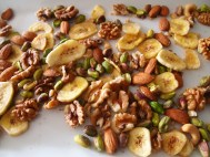 mixed nuts and dried banana