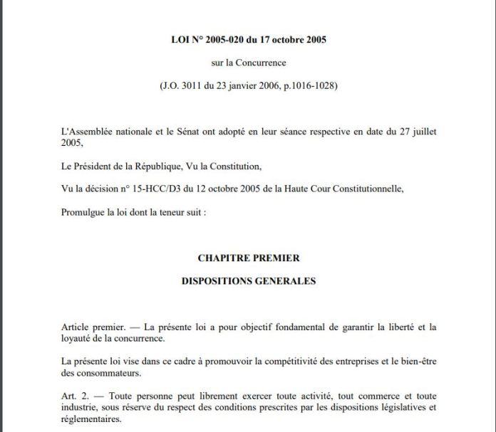 La Cour d'appel viole l'article 2 du code de la concurrence à Madagascar qui dit que toute personne peut librement exercer toute activité, tout commerce