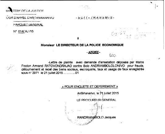L'exception in limine litis est recevable et fondée car le procureur général au lieu du procureur de la République a envoyé la plainte pour enquête et déferrement au Directeur de la police économique