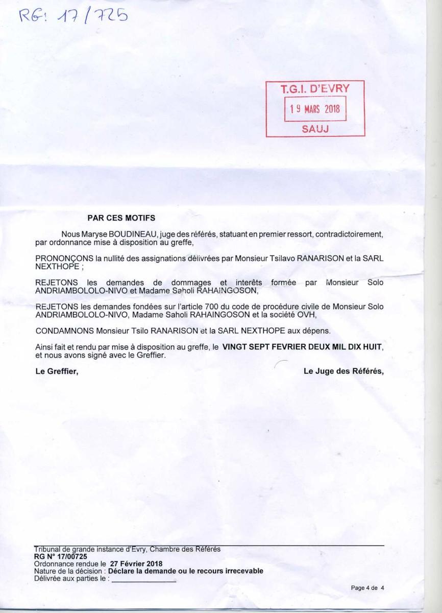 Diffamation préjudiciables à RANARISON Tsilavo et à la société NEXTHOPE par la création de sites internet d'après la plainte de RANARISON Tsilavo au TGI de Paris et d'Evry (France)