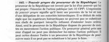 pouvoir propre du procureur de la République
