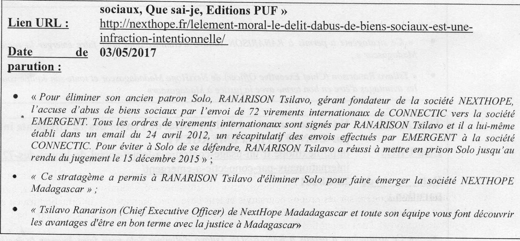 Tsilavo RANARISON de NextHope Madagascar et toute son équipe vous font découvrir les avantages d'être en bon terme avec la justice à Madagascar