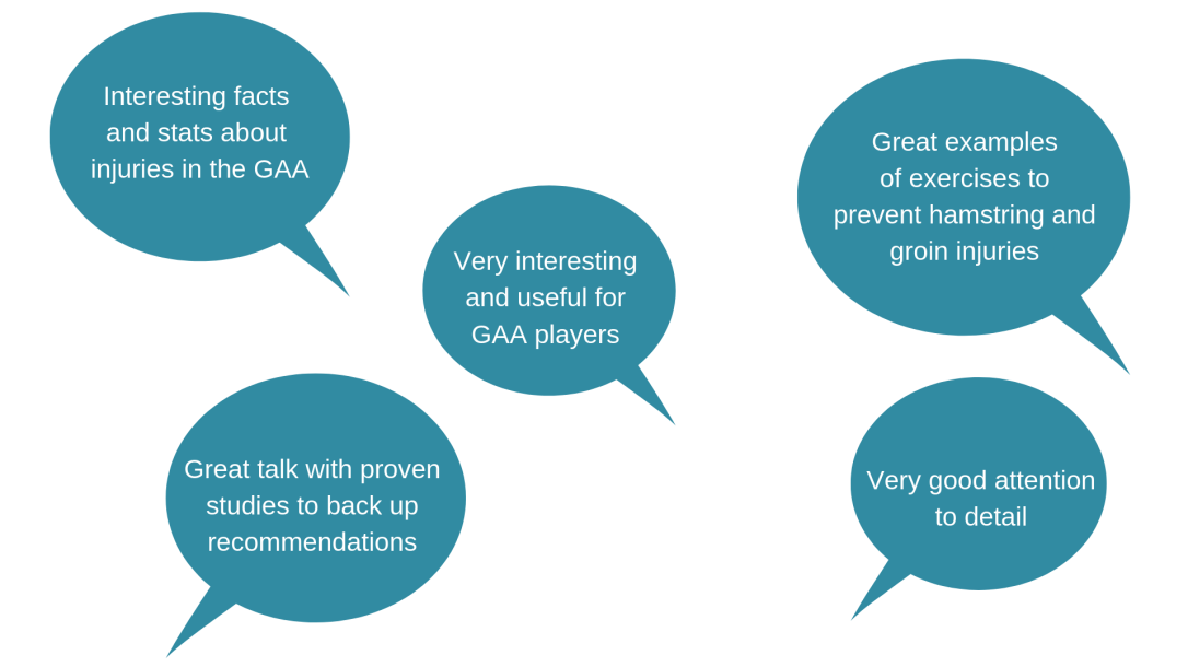 Feedback from recent participants of our Sports Injury Prevention Course for GAA sports.