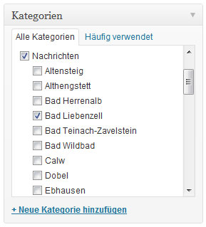 Wordpress Kategorien für Stadtblogs