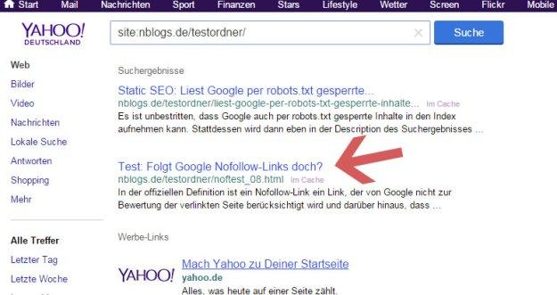 SEO Nofollow-Test: Yahoo! indexiert eine Webseite