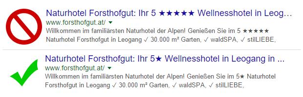 Zu viele Sonderzeichen hintereinander werden von Google in Title und Meta Description entfernt.