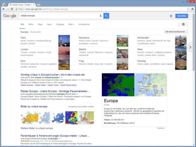 """Google Carousel für Staatenbünde wie """"Urlaub Europa"""""""