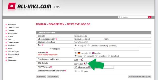 All-Inkl.com Let's Encrypt Zertifizierung vornehmen - SSL-Schutz aktivieren