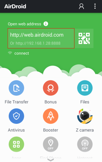 AirDroid Web Address IP with Port Number