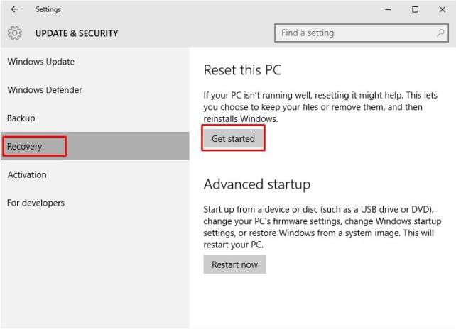 """Update & Security Choose """"Recovery"""" Option."""