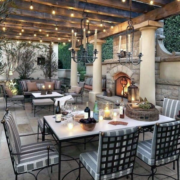 Top 60 Best Patio Fireplace Ideas - Backyard Living Space ... on Backyard Covered Patio Designs id=17831