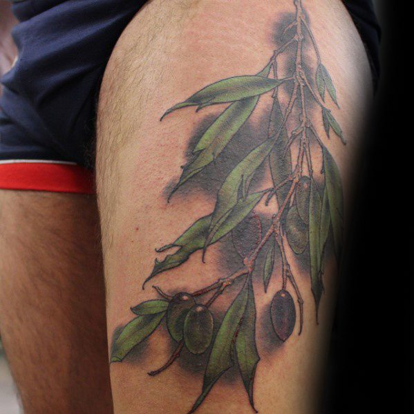 Awesome Olive Tree Branch Thigh Tattoos For Men