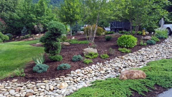 Top 50 Best River Rock Landscaping Ideas - Hardscape Designs on Rocks For Backyard  id=65797