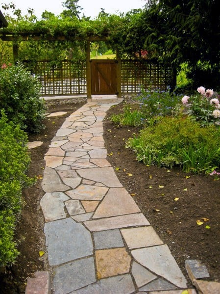 Top 40 Best Flagstone Walkway Ideas - Hardscape Path Designs on Backyard Walkway Ideas id=31639