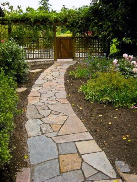 Top 40 Best Flagstone Walkway Ideas - Hardscape Path Designs on Backyard Walkway Ideas id=88218
