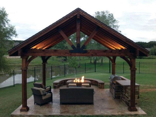 Top 50 Best Backyard Pavilion Ideas - Covered Outdoor ... on Outdoor Patio Pavilion id=23966