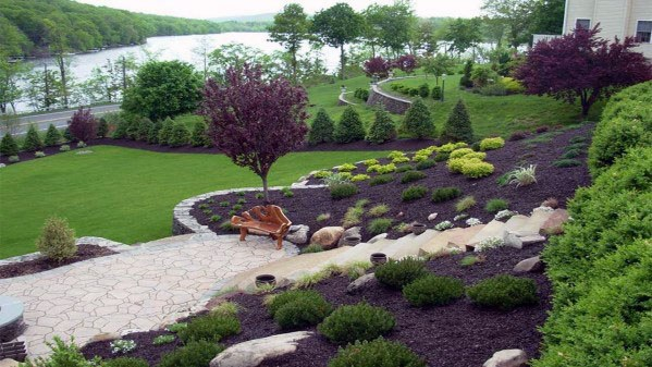 Top 50 Best Slope Landscaping Ideas - Hill Softscape Designs on Backyard With Slope Ideas  id=73466