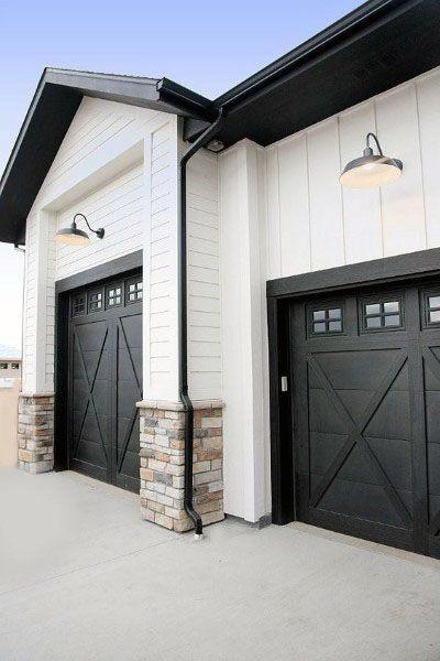 50 Outdoor Garage Lighting Ideas - Exterior Illumination ... on Garage Door Color Ideas  id=55631