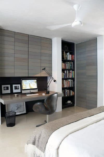 75 Small Home Office Ideas For Men   Masculine Interior Designs Bedroom Small Home Office Ideas For Guys
