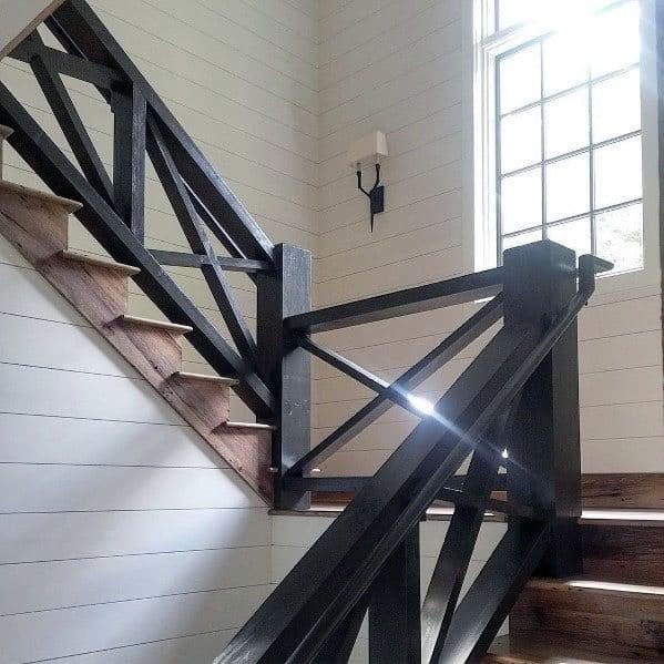 Top 70 Best Stair Railing Ideas Indoor Staircase Designs   Black Wood Stair Railing   Hardwood   Curved Wood   Ash Gray   Oak   Cantilever Stair