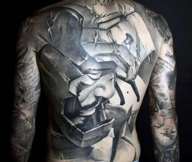 Broken Cracked Grey Warrior With Helmet Tattoo Male Full Back