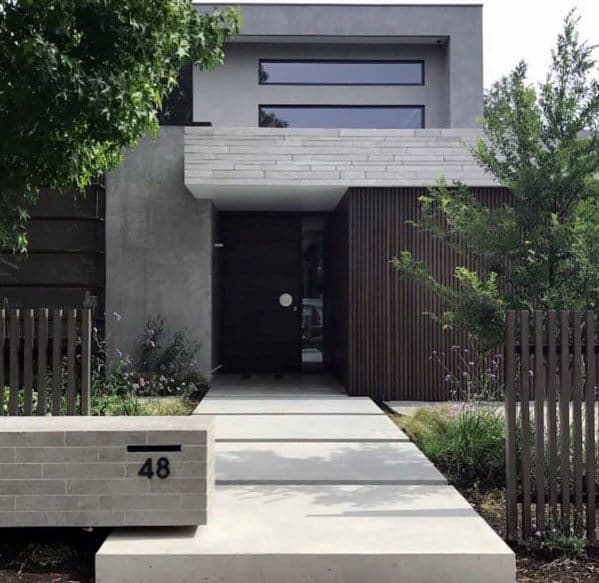 Top 60 Best Concrete Walkway Ideas - Outdoor Path Designs on Concrete Front Yard Ideas id=90896
