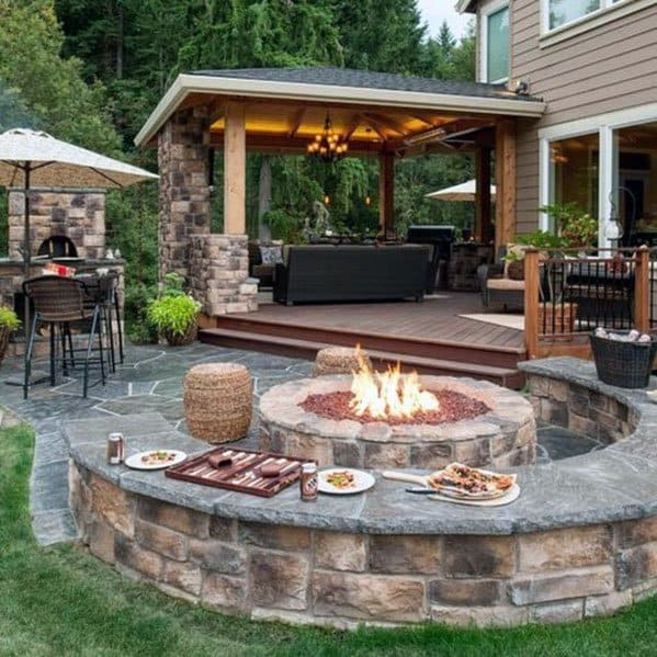 Top 60 Best Outdoor Fire Pit Seating Ideas - Backyard Designs on Outdoor Fire Pit Ideas id=97984