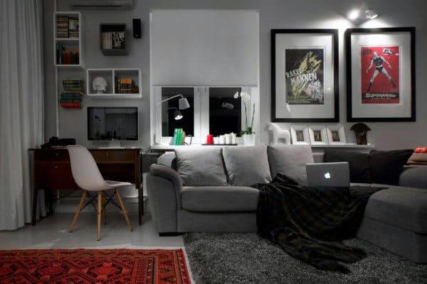 100 Bachelor Pad Living Room Ideas For Men - Masculine Designs on Bedroom Ideas For Men Small Room  id=52877