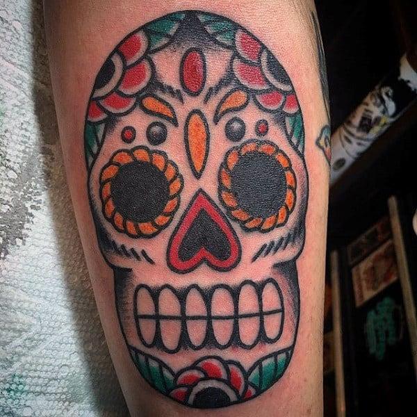 Cool Mens Old School Sugar Skull Tattoo Design